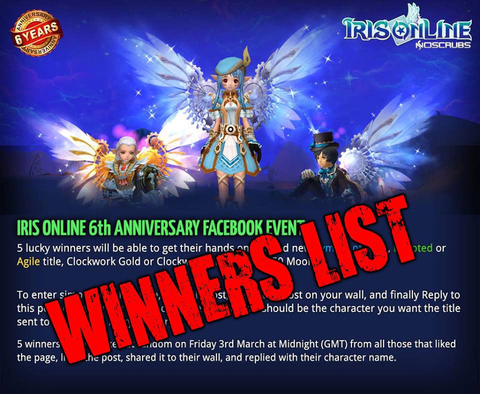 6th Anniversary Event Winners